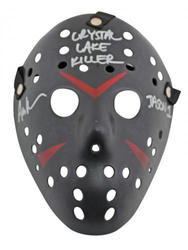 "Ari Lehman Friday The 13th ""Crystal Lake Killer"" Signed Black Jason Mask BAS Wit"