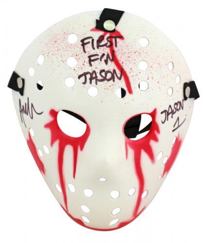 "Ari Lehman Friday The 13th ""First F'n Jason"" Signed White Jason Mask BAS Witness"