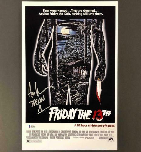 "Ari Lehman ""Jason 1"" signed Friday the 13th 11x17 poster photo ~ Beckett BAS COA"