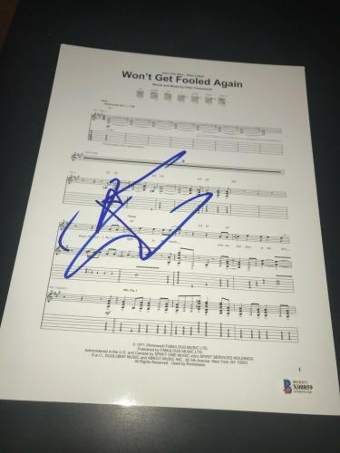 Pete Townshend Signed Sheet Music The Who Wont Get Fooled Beckett Bas Auto Coa