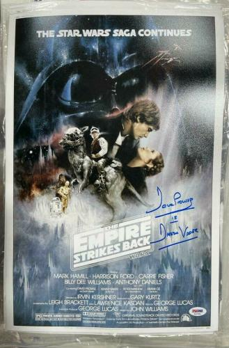 Dave David Prowse Signed Star Wars Empire Strikes 11x17 Poster Photo Beckett BAS