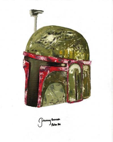 "JEREMY BULLOCH Signed STAR WARS ""Boba Fett"" Original Artwork 11x14 Canvas BAS"