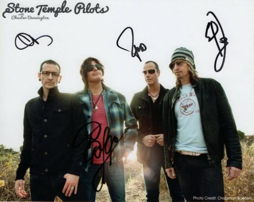 Stone Temple Pilots Band Autographed 8X10 Photo Chester Bennington JSA BB59748