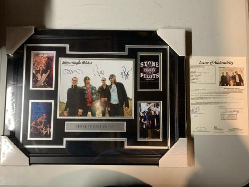 Stone Temple Pilots STP 4 Autograph Signed 8x10 Photo Collage Framed JSA