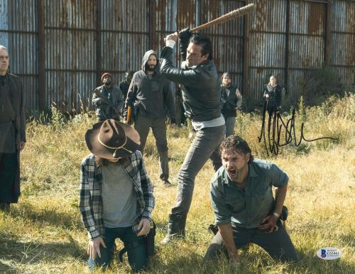 Jeffrey Dean Morgan Signed 11x14 Walking Dead Photo Swing Beckett BAS COA