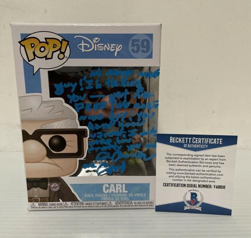 Ed Asner Signed Autographed Carl Up Funko Pop Disney Pixar Beckett COA 1
