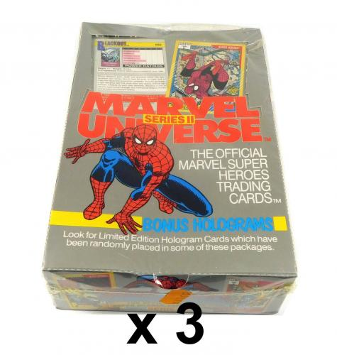 Lot of (3) 1991 Marvel Universe Trading Card Boxes Series 2 Sealed (36 Packs)