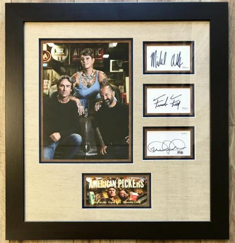 AMERICAN PICKERS (M. Wolfe/ F. Fritz/ Danielle) signed custom framed display-JSA