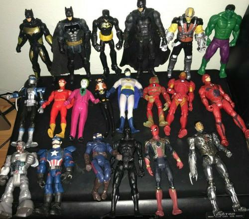 Huge 20+ Marvel Dc Comics Action Figure Lot Very Collectible Spiderman Batman ++