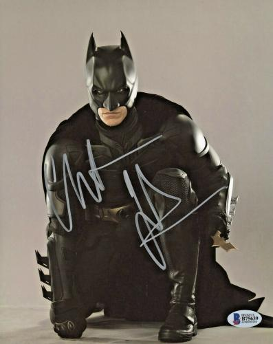 Christian Bale Signed Batman 8x10 Photo Kneeling Beckett BAS COA
