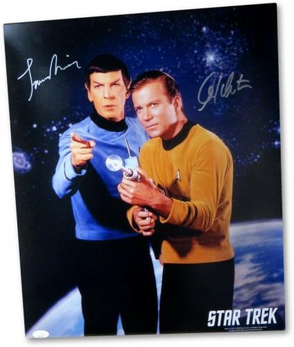 William Shatner Leonard Nimoy Signed Autographed 16X20 Photo Star Trek JSA LOA B