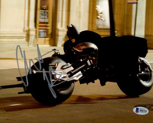 Christian Bale Signed Batman 8 x 10 Photo Batcycle Moving Beckett BAS COA