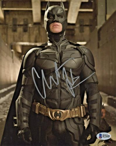 Christian Bale Signed Batman 8 x 10 Photo Standing Tall Beckett BAS COA