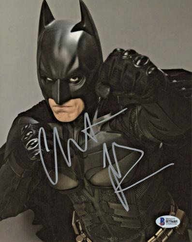 Christian Bale Signed Batman 8 x 10 Photo Fist Beckett BAS COA
