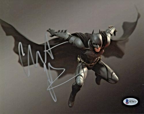 Christian Bale Signed Batman 8 x 10 Photo Jumping Attack Beckett BAS COA