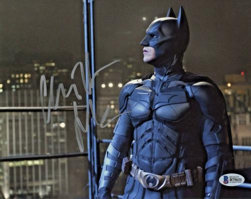 Christian Bale Signed Batman 8 x 10 Photo Rooftop Look Beckett BAS COA