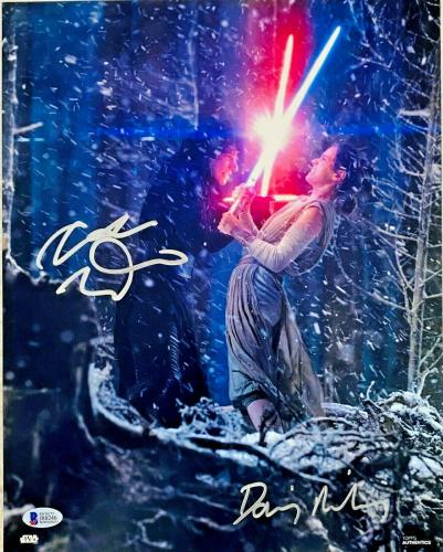 Daisy Ridley Adam Driver Signed Star Wars 11x14 Photo Silver Beckett Witnessed