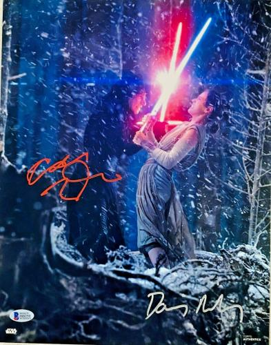 Daisy Ridley Adam Driver Signed Star Wars 11x14 Photo Red Silver BAS Witnessed