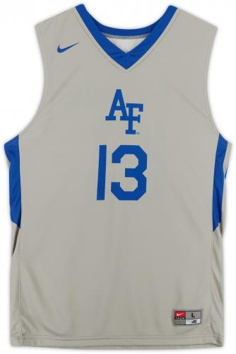 Air Force Falcons Team-Issued #13 Gray Jersey with Blue Collar from the Basketball Program - Size L