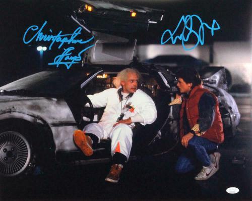 Christopher Lloyd/MJ Fox Autographed w/ Delorean 16x20 Photo- JSA W *Blue