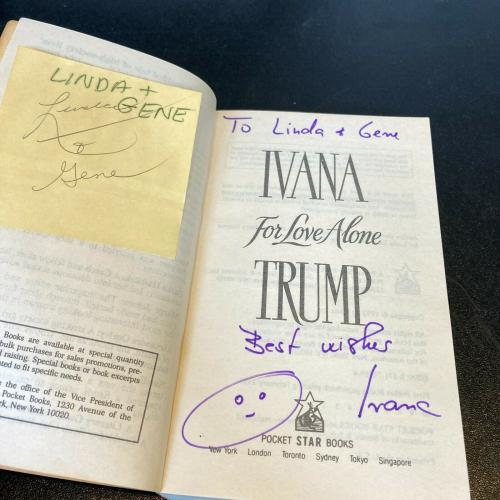 Ivana Trump Donald Trump First Wife For Love Alone Signed Autographed Book
