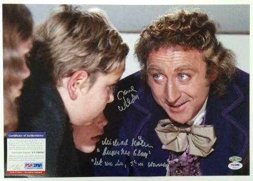 Gene Wilder & Michael Bollner signed Willy Wonka 12x17 Photo Poster ~ PSA COA