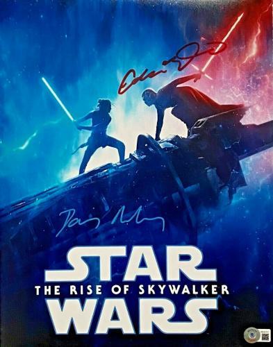 Daisy Ridley Adam Driver Signed 11x14 Star Wars Photo Rey BAS Beckett Witnessed