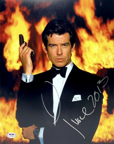 "Pierce Brosnan Signed 11x14 Photo PSA AJ24200 Autographed ""James Bond"" 007"