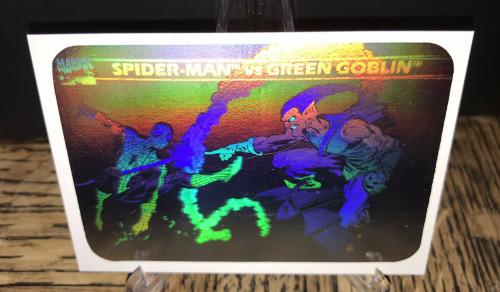 Vintage Marvel 1990 Impel Green Goblin & Spiderman Hologram Trading Card Rare C