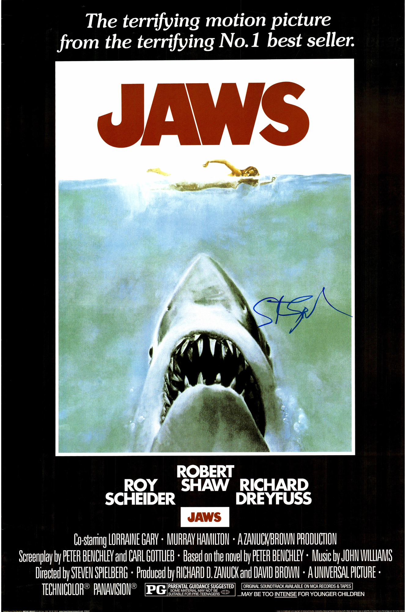 Steven Spielberg Autographed Jaws Movie Poster