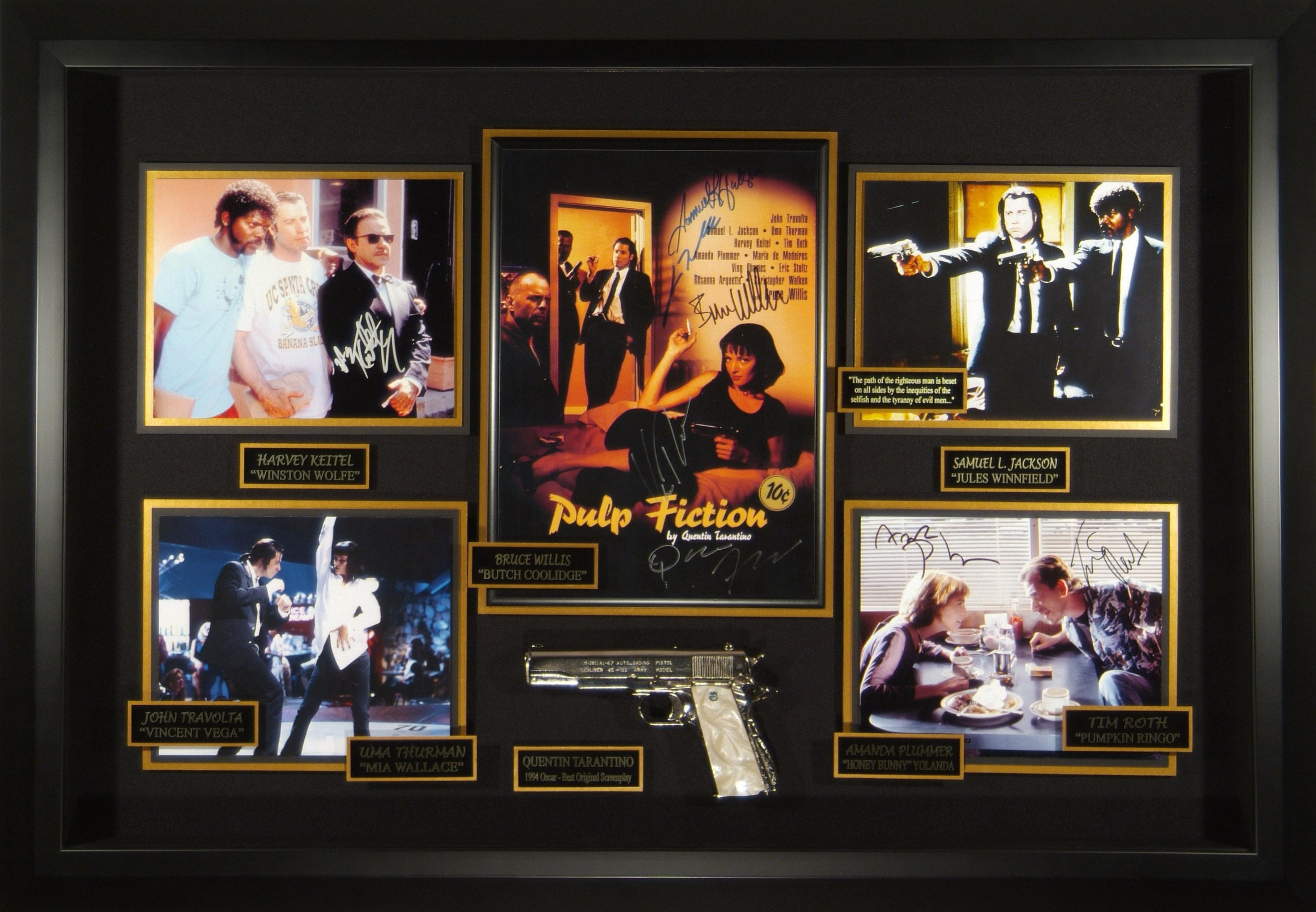 pulp fiction cast signed movie poster display