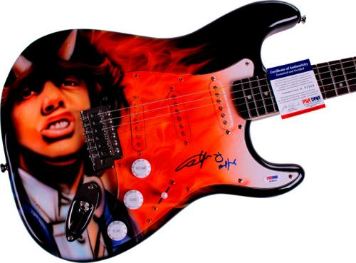 AC/DC ACDC Angus Young Autographed Airbrushed Guitar Preorder PSA AFTAL