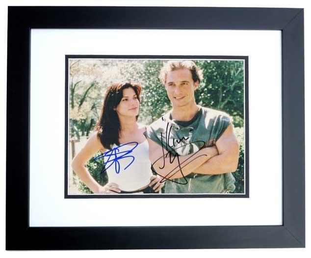 Matthew McConaughey and Sandra Bullock Signed - Autographed 8x10 Photo with JK Livin Inscription BLACK CUSTOM FRAME