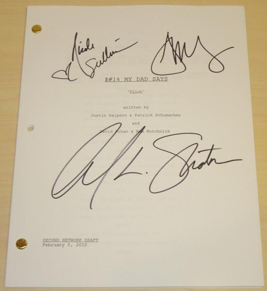 $#!% MY DAD SAYS Signed - Autographed Full Script by William Shatner, Jonathan Sadowski, and Nicole Sullivan - Guaranteed to pass PSA or JSA