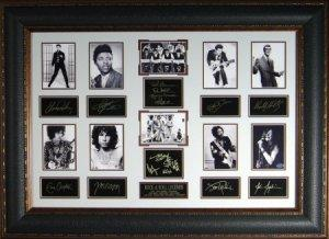 Jimi Hendrix unsigned Rock Legends Vintage 10 Photo Engraved Signature Series Leather Framed 27x39 (entertainment)