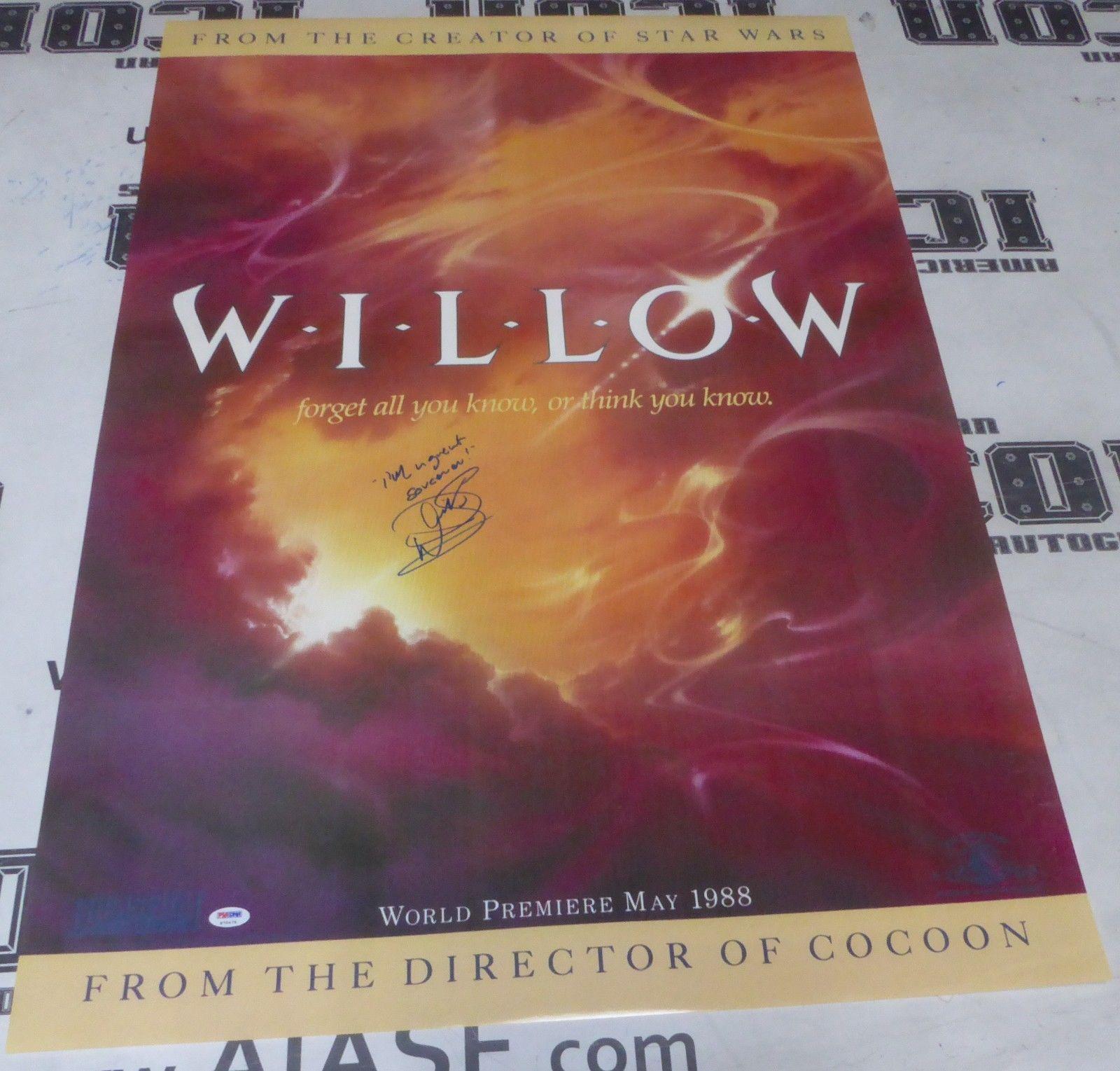 Warwick Davis Signed 27x41 Willow Poster PSA/DNA COA Ron Howard Movie Autograph