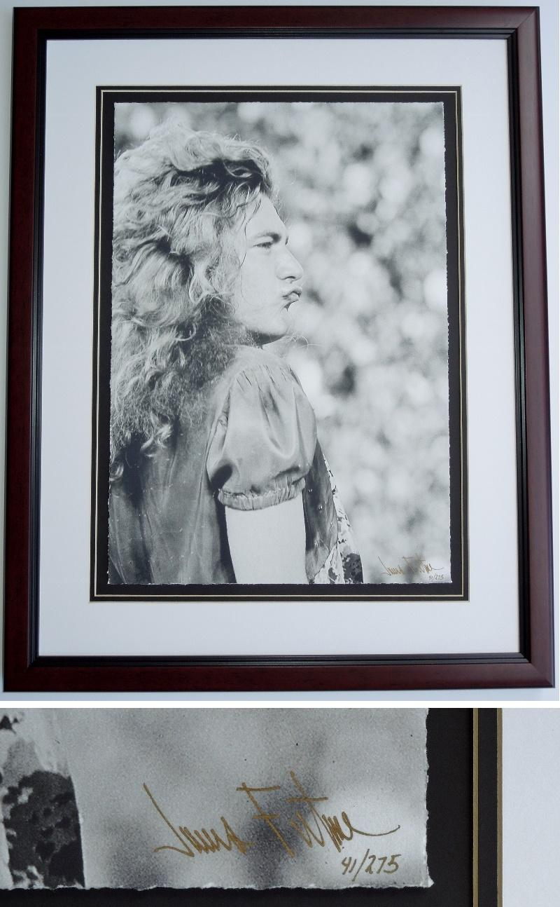 Robert Plant - James Fortune Limited Edition Fine Art Giclee Lithograph Photo Print - Mahogany FRAME - Guaranteed to pass PSA or JSA measures 22x28 inches - Custom FRAMED - Guaranteed to pass PSA or JSA - Led Zeppelin Singer