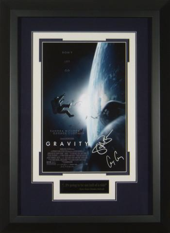 Sandra Bullock signed Gravity 22X30 Masterprint Poster Custom Black Framed 2 sigs (movie/entertainment/photo)
