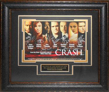 Sandra Bullock signed Crash 22X30 Masterprint Poster Leather Framed 7 cast sigs (horizontal-movie/entertainment/photo)