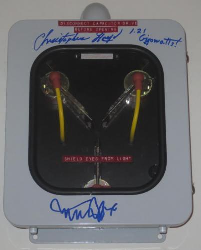 Michael J Fox Christopher Lloyd Signed Flux Capacitor Inscription Proof Psa Loa