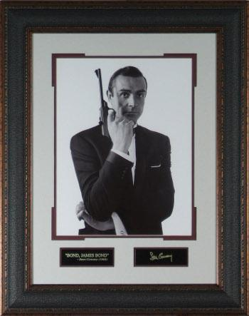 Sean Connery as James Bond unsigned 11X14 Vintage B&W Photo Leather Framed Engraved Signature Series (movie/entertainment)