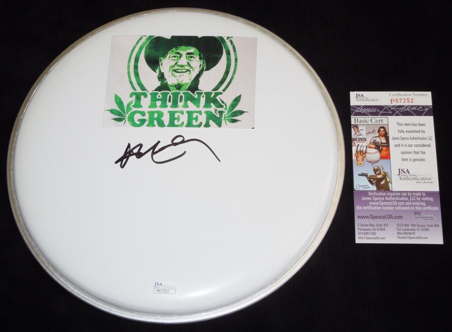 Willie Nelson Signed - Autographed Drum Head with Willie Nelson for President sticker - JSA Certificate of Authenticity