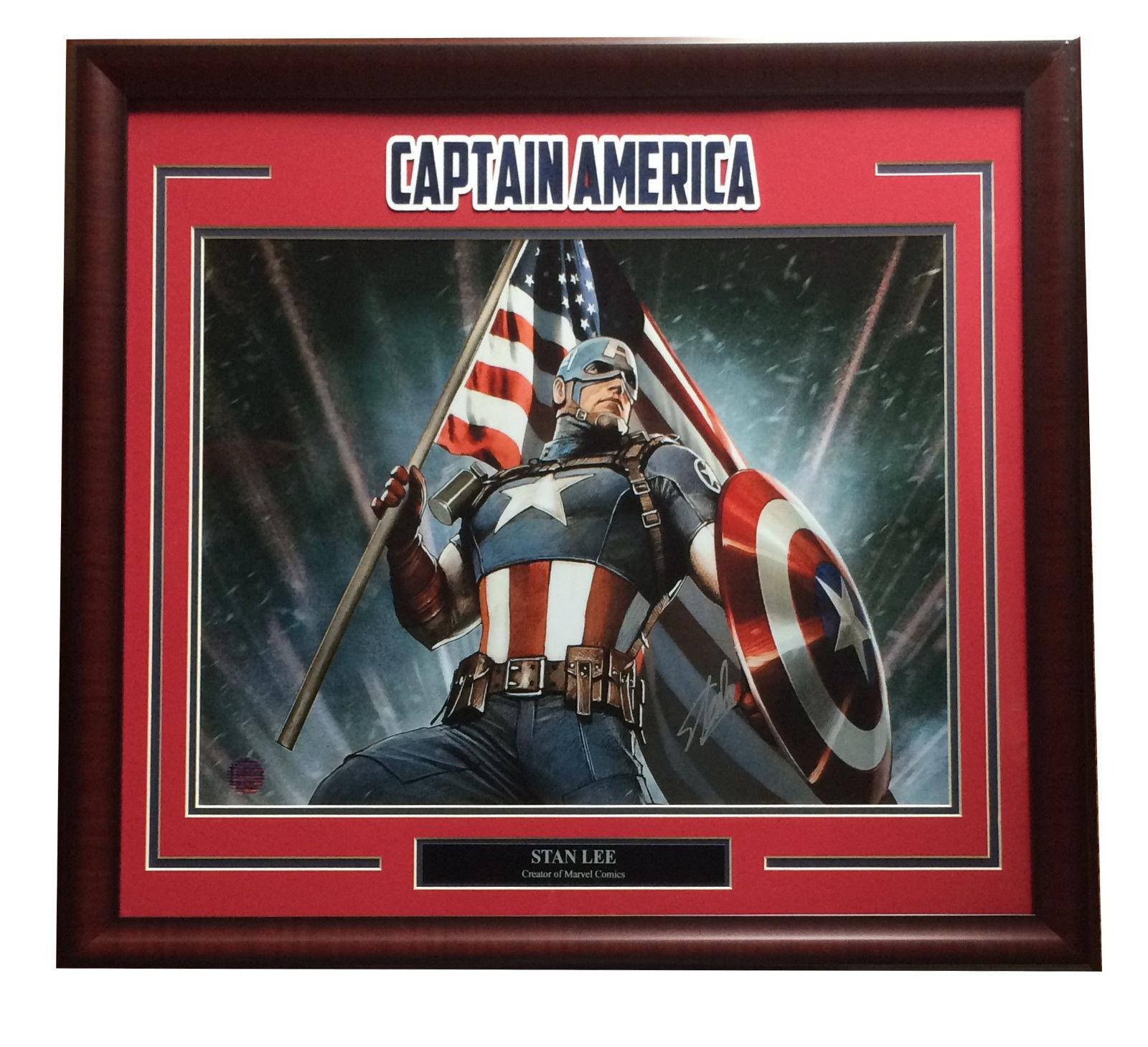 Stan Lee signed 16x20 Captain America Marvel photo framed mint auto holo coa