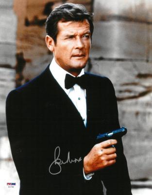 Roger Moore Signed James Bond Authentic Autographed 11x14 Photo PSA/DNA #AC17356