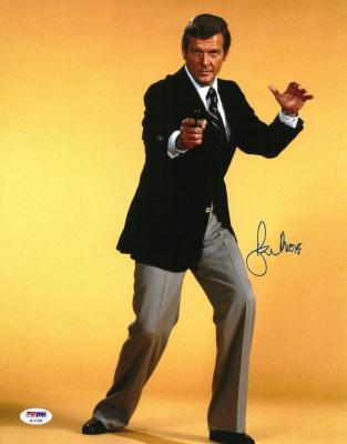 Roger Moore Signed James Bond Authentic Autographed 11x14 Photo PSA/DNA #AC17388