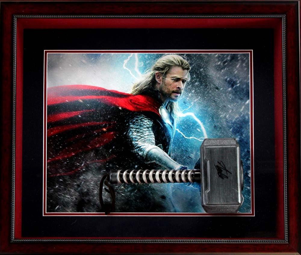 Stan Lee Signed Marvel Avengers Thor Mini Hammer Framed Shadow Box