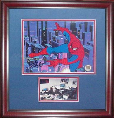 Stan Lee Spider Man signed animation cel autograph framed Marvel 21x19 COA auto