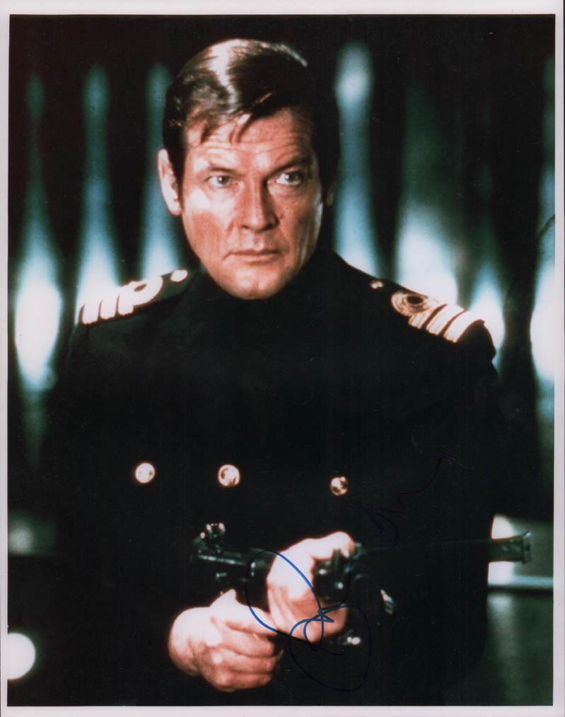 Roger Moore Autographed Signed 11x14 James Bond Photo AFTAL