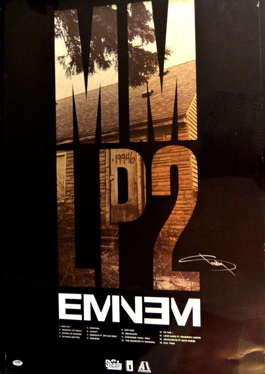 Eminem Slim Shady MM LP2 Signed Autographed Poster Psa/Dna AFTAL