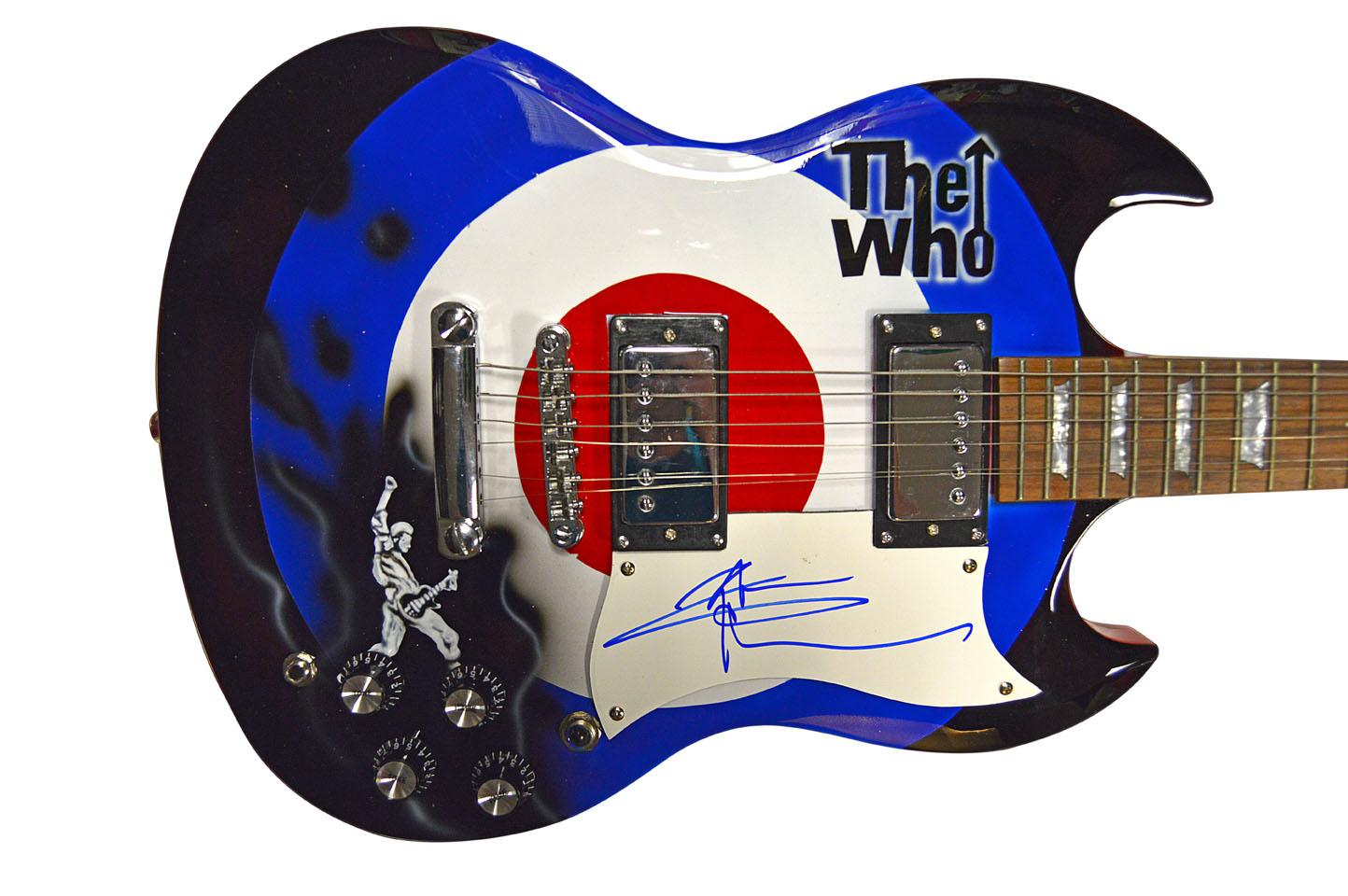 Pete Townshend The Who Autographed Bullseye logo Airbrushed Guitar AFTAL UACC RD